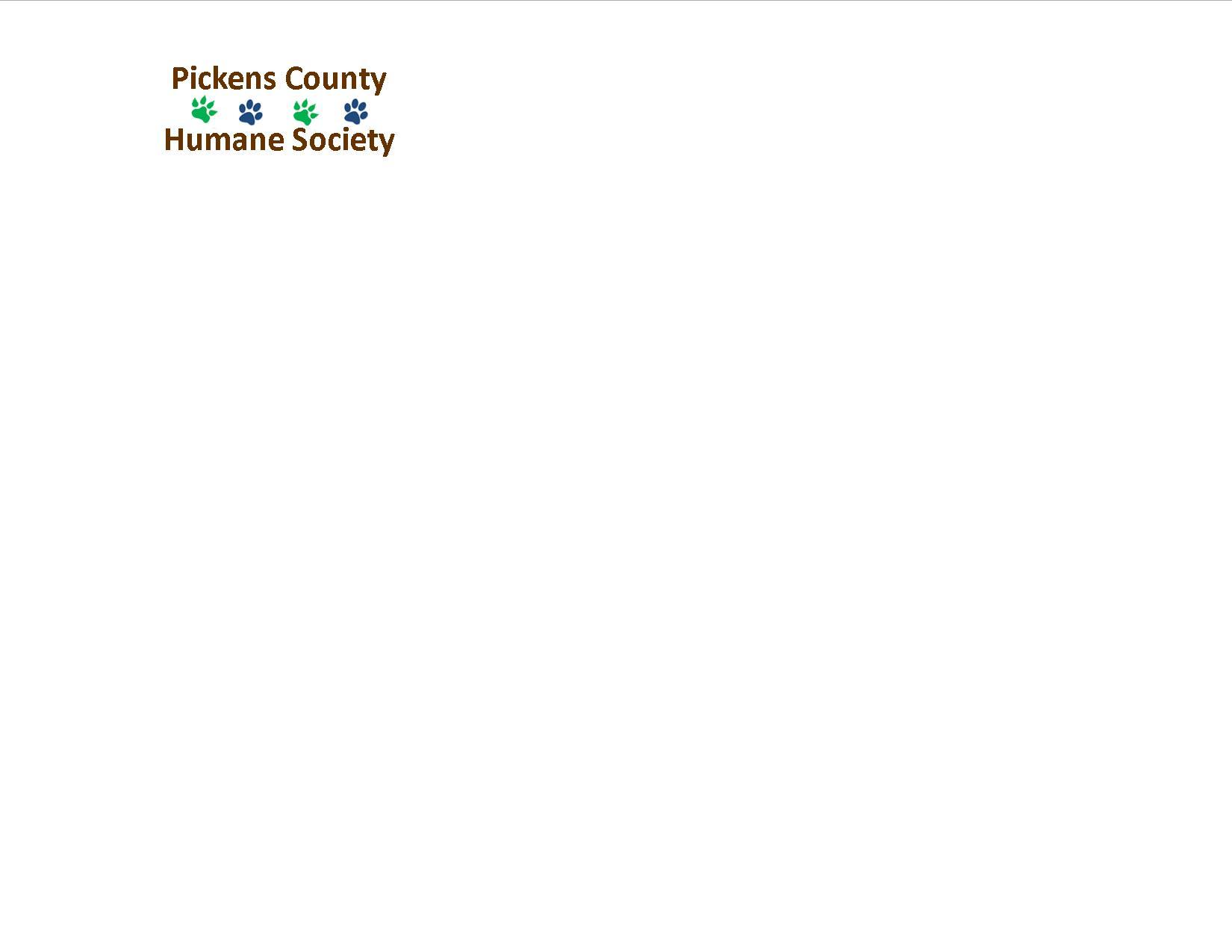 Logo of charity Pickens County Humane Society