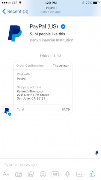 You can now use PayPal to shop within Facebook Messenger